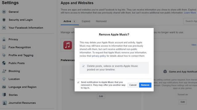 confirm removal of facebook app