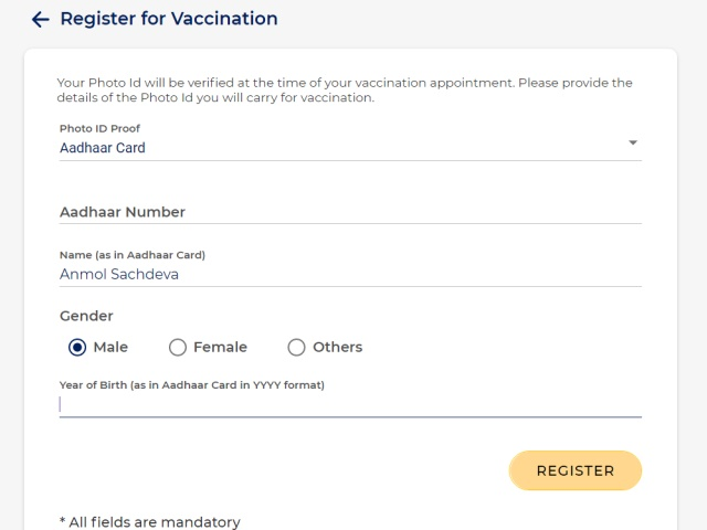 cowin - register for covid-19 vaccine in India