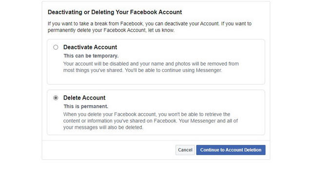 deactivate or delete fb