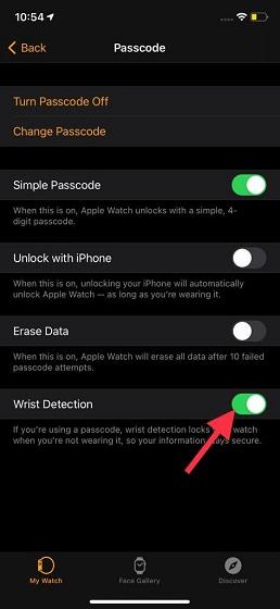 enable wrist detection