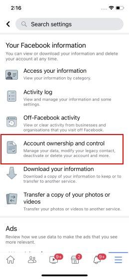 facebook account delete on iPhone