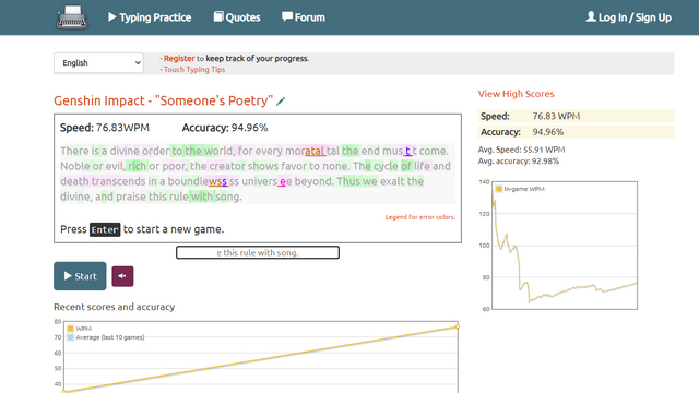 key hero results Typing Test Website