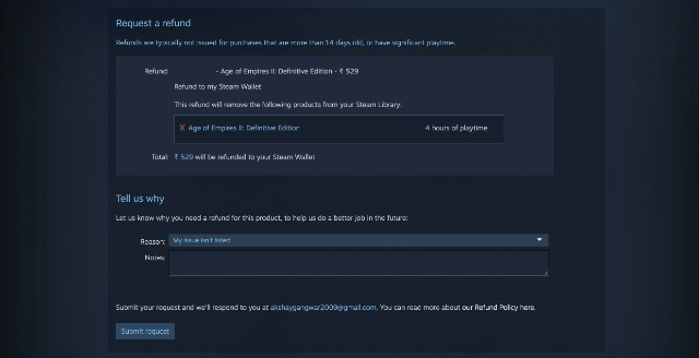 refund a game on steam step 4