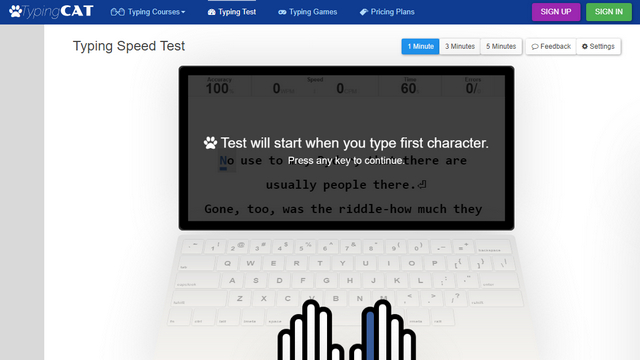 typing cat Typing Test Website