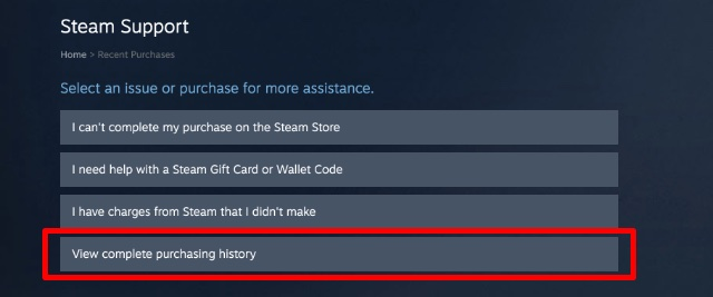 view complete purchasing history steam