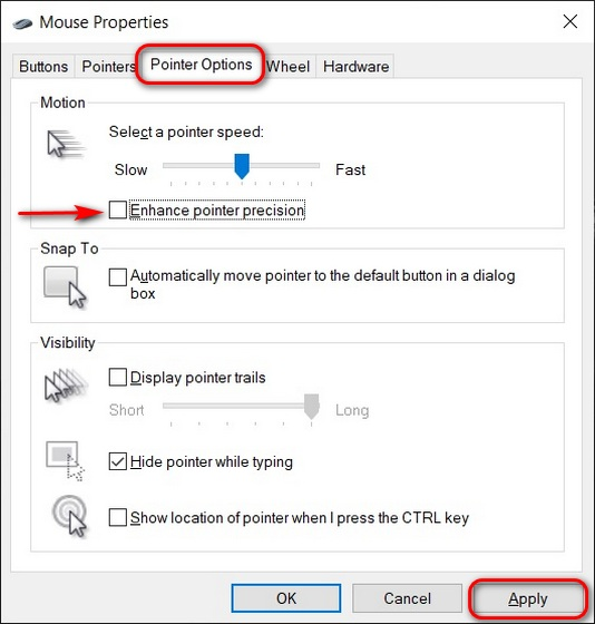 Disable Mouse Acceleration; Optimize Your Windows 10 PC For Gaming