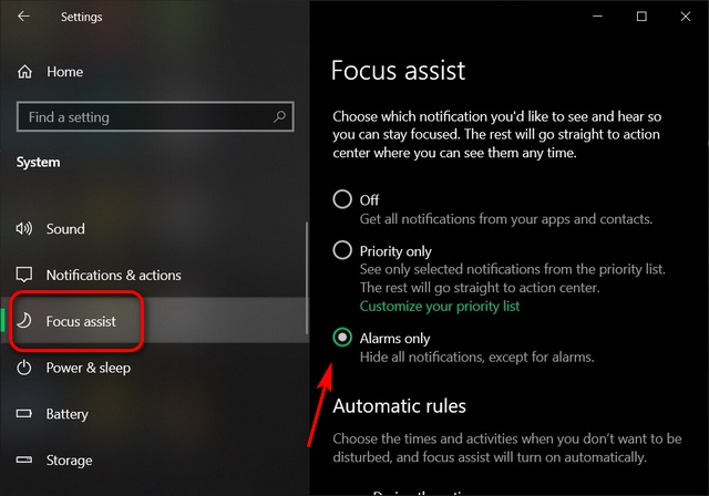 Enable Focus Assist; Optimize Your Windows 10 PC For Gaming