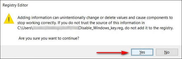 Disable Windows Key Using a Reg File
