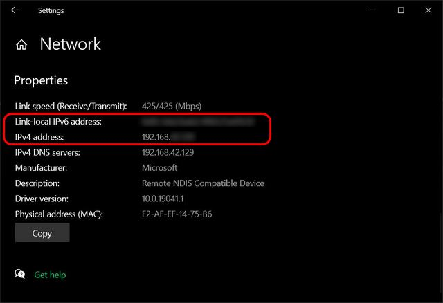 Find Internal (Local) IP Address on Windows 10 Ethernet