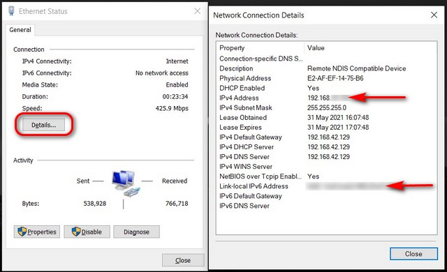 Find Your IP Address on Windows Network and Sharing Center