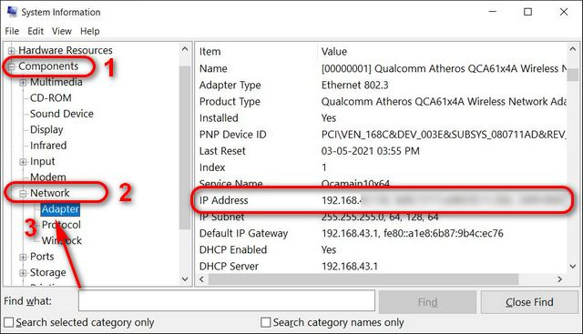 Find Your IP Address on Windows System Information