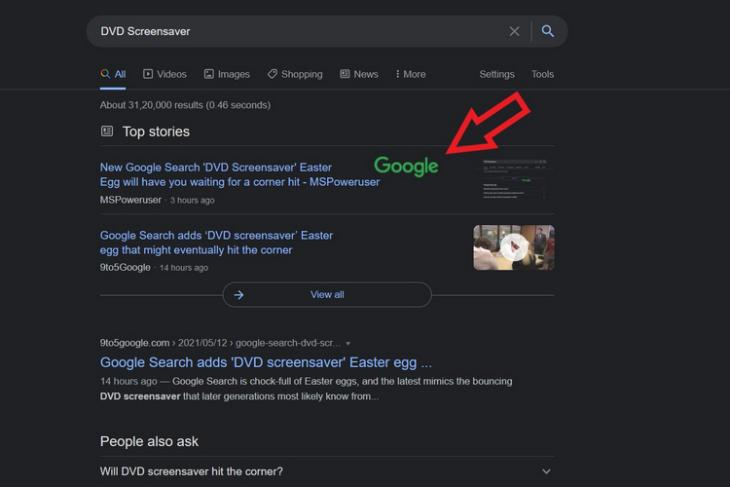 Google Search Adds DVD Screensaver Easter Egg