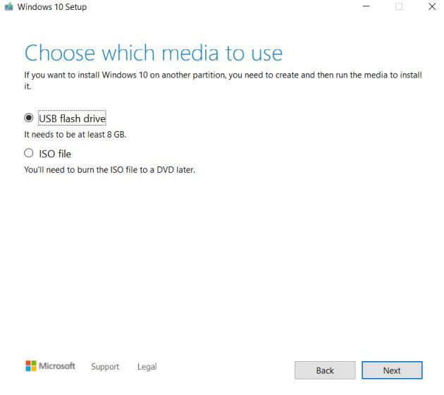create installation media - create windows 10 bootable usb