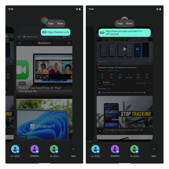 Share Links from Recent Apps Switcher