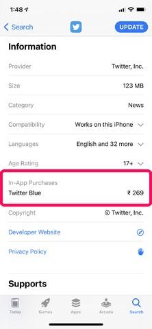 Twitter blue confirmed on App Store