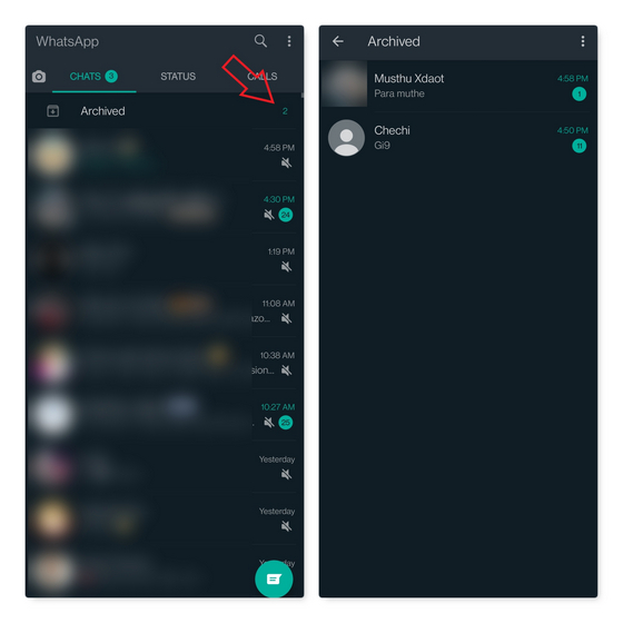 archived chats indicator whatsapp