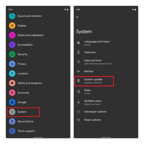 Suchen Sie nach Android-Updates