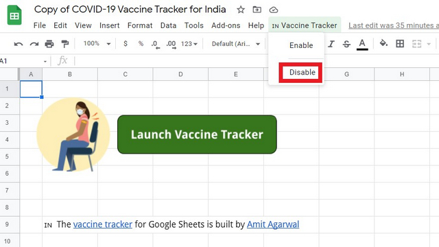 disable vaccine tracker alert