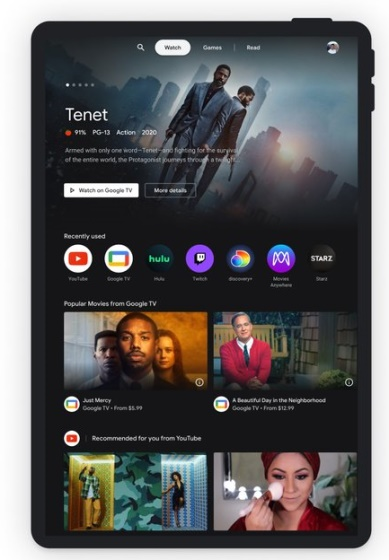 google android tablet - entertainment space