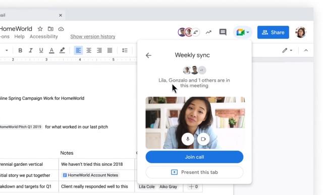 google meet in docs, sheet and slides