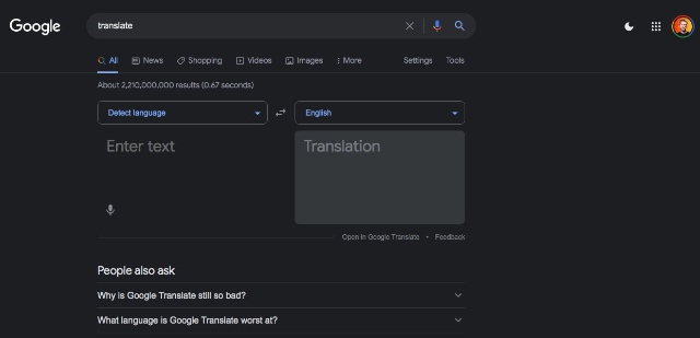 google search dark theme enabled
