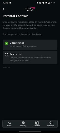 mini tv parental controls