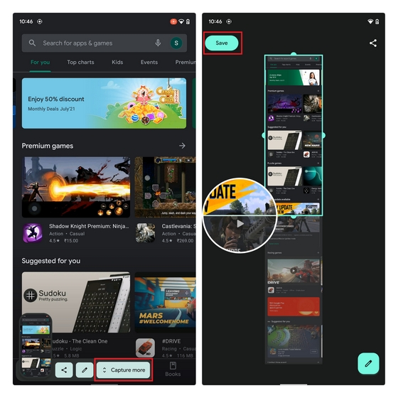 scrolling screenshots android 12
