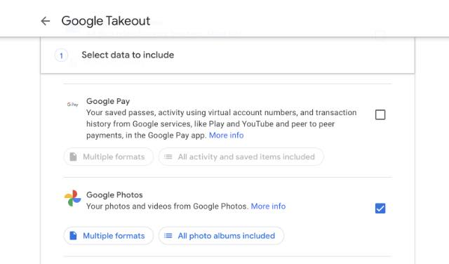 select google photos for takeout