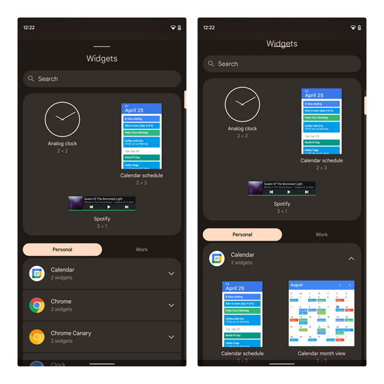 select widgets android 12