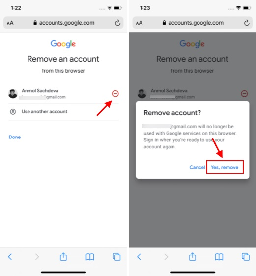 sign out of google account - Safari browser 3