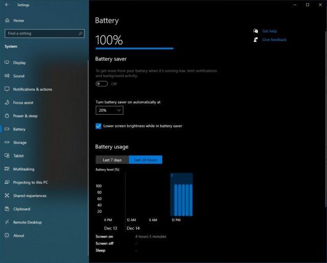 windows 10 battery usage graph