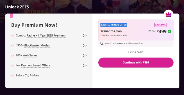 zee5 subscription price - watch friends reunion in India