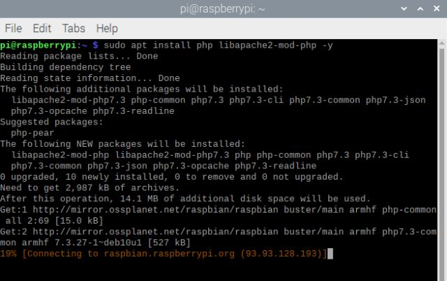 Install PHP on raspberry pi