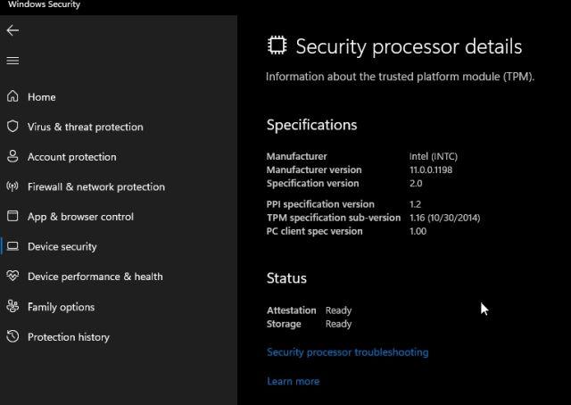 Sicherheitsprozessor Windows 11 und Windows 10