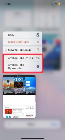Arrange tabs - How to Use Tab Groups in Safari on iOS 15