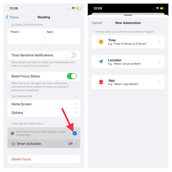 Customize smart activation - What is Focus Mode and How to Use It in iOS 15