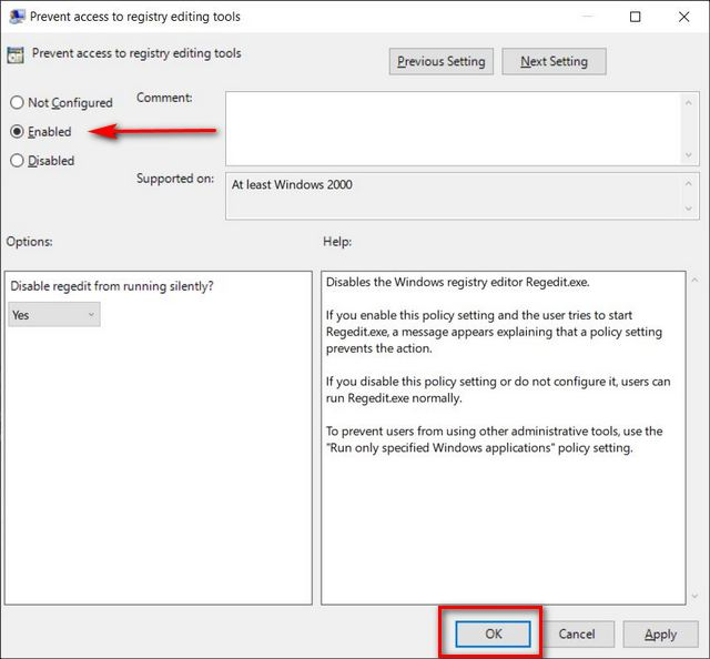 Disable Registry Editor in Windows 10 Using Group Policy
