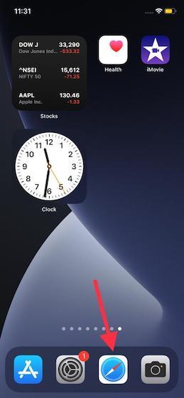 Open Safari on iPhone or iPad