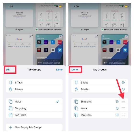 Rearrange Safari tab groups - How to Use Tab Groups in Safari on iOS 15