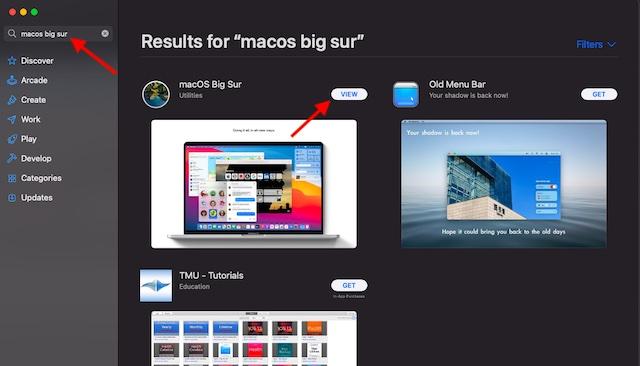 Search macOS Big Sur
