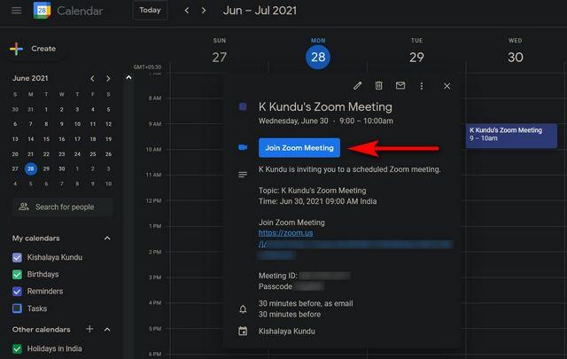 Zoom-Meeting-Einladung mit Google Kalender-Text senden