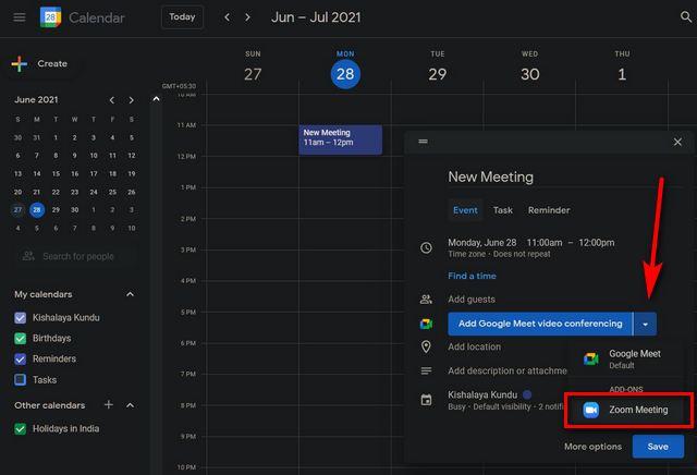 Zoom-Meeting-Einladung mit Google Kalender senden
