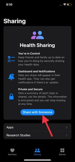 Share with someone - how to set up Health Sharing in iOS 15