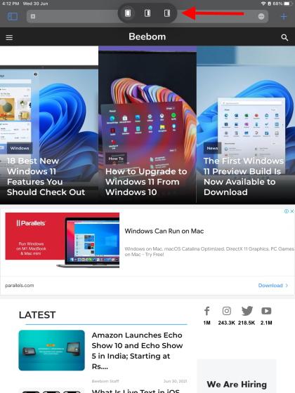 iPadOS 15 Slide Over multitasking