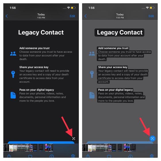 Tippen Sie auf die Schaltfläche Live-Text