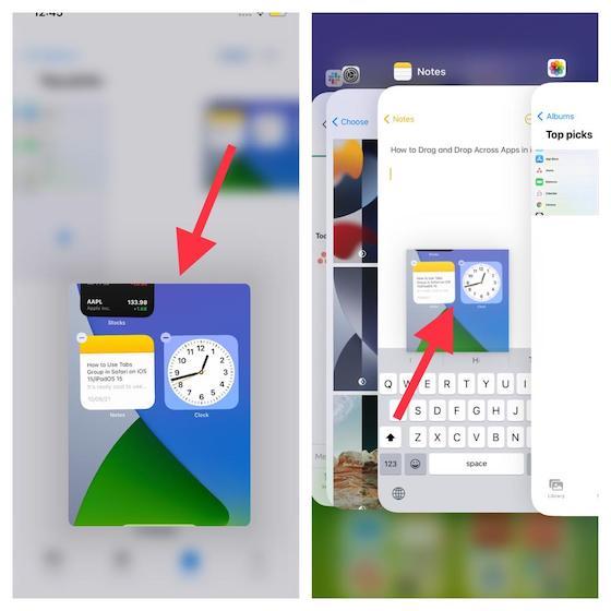 Verwenden von anwendungsübergreifendem Drag & Drop unter iOS 15
