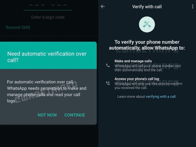 WhatsApp Flash calls verification method