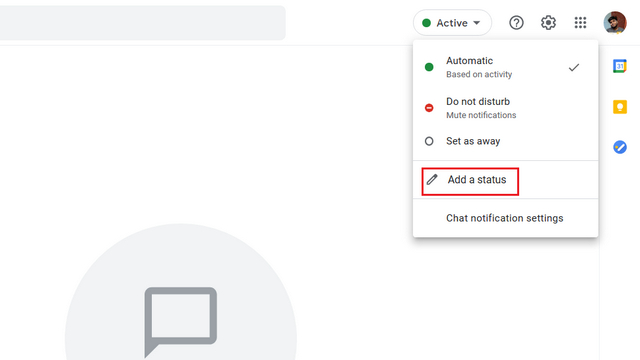 add custom status google chat