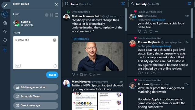 better tweetdeck editing interface