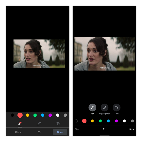 changes in markup tool ui google photos